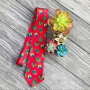 Red Lands End Christmas wreath tie